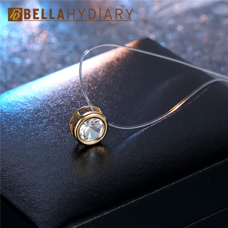 Simple Women Chocker Invisible Chain Transparent Fishing Line Necklace Crystal Rhinestone Choker Necklace Pendant On Line Neck (6)