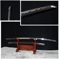 hand forged clay tempered sanmai blade japanese shirasaya katana rosewood full tang very sharp functional can cut bamboo tree