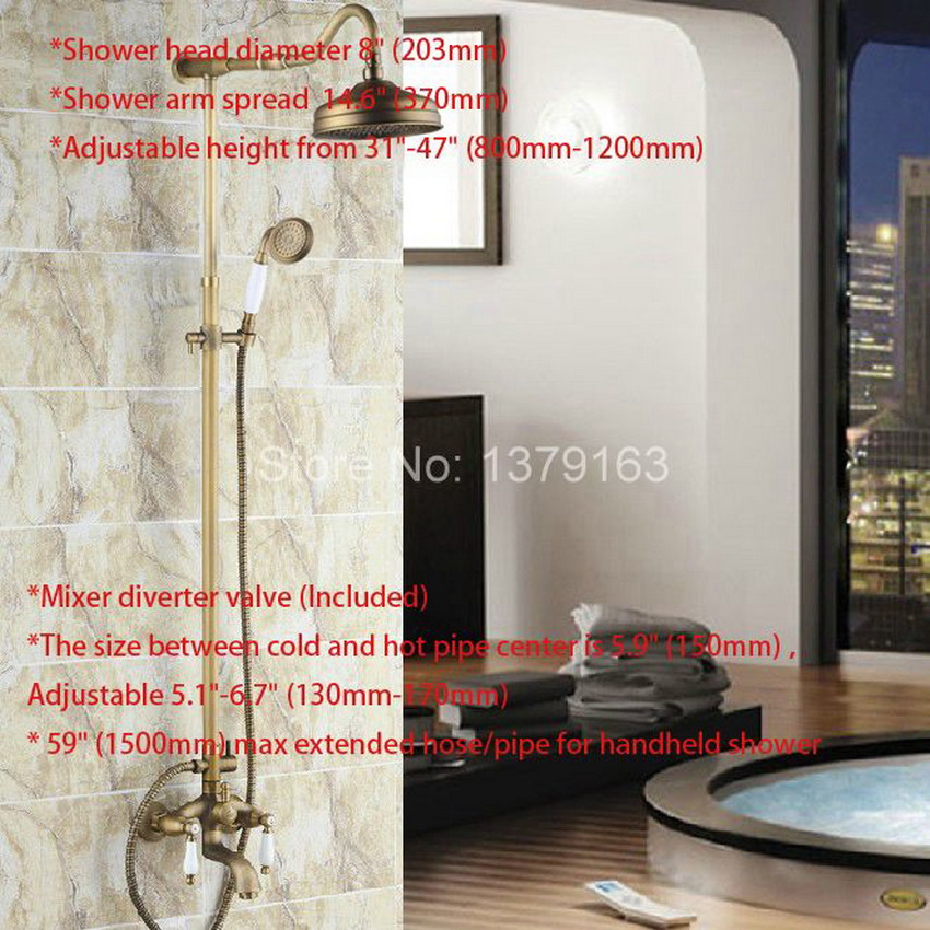 Luxury Bathroom Rain Shower Faucet Set Antique Brass Handheld Shower Head  Two Ceramics Lever Bathtub Mixer Tap Ars244 In Shower Faucets From Home ...