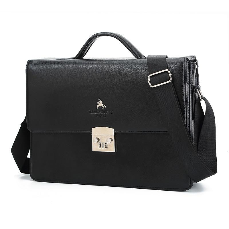 Business Luxury Brand Man Bag Theftproof Lock Black Leather Briefcase For Man Solid Bank OL Mens Briefcase Bag Dress Man Handbag