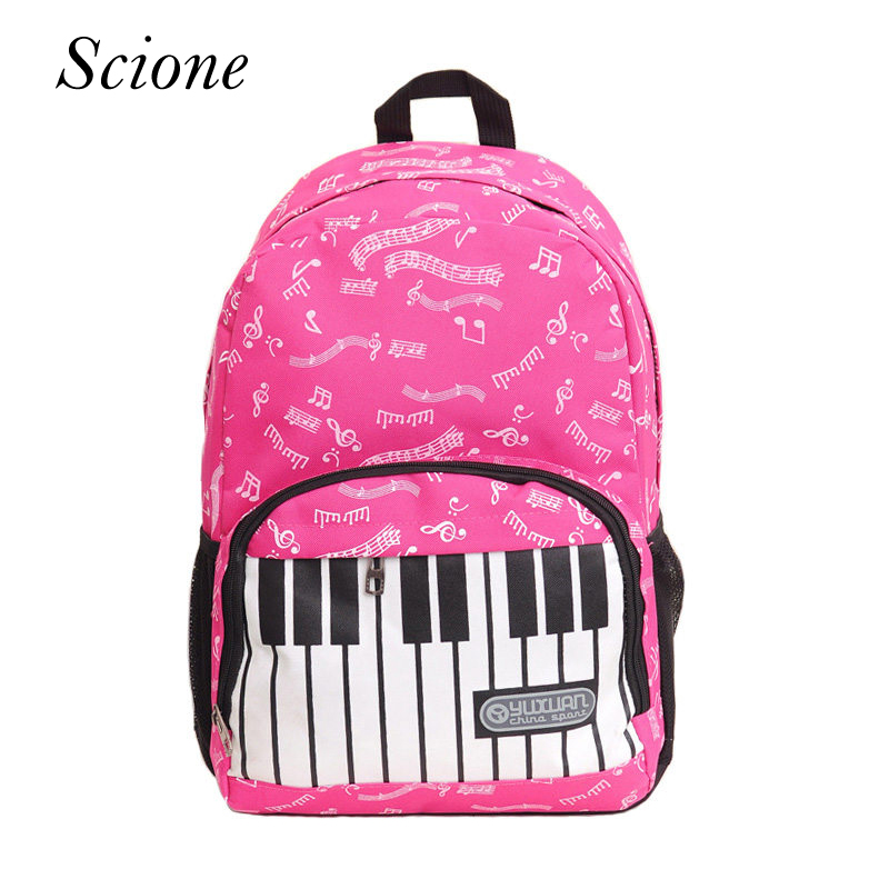 2017 Fashion Brand Piano Musical Note Letter Printing Backpack Travel Laptop Student School Shoulder Bag Rucksack mochilas Li534 girsl kid backpack ladies boy shoulder school student bag teenagers fashion shoulder travel college rucksack mochila escolar new