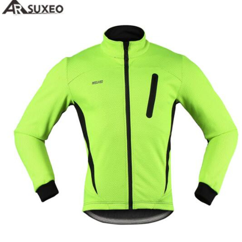 цена ARSUXEO Thermal Cycling Jacket Winter Warm UP Fleece Bicycle Clothing Windproof Waterproof Sports Coat MTB Bike Jerse онлайн в 2017 году