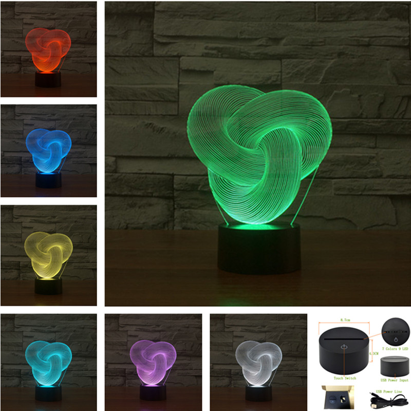 AUCD Acrylic 7 Colors 3D Visual LED Night Light Kids Abstraction Christmas Gifts Baby Bedroom USB Remote Table Lamp 3D-TD198