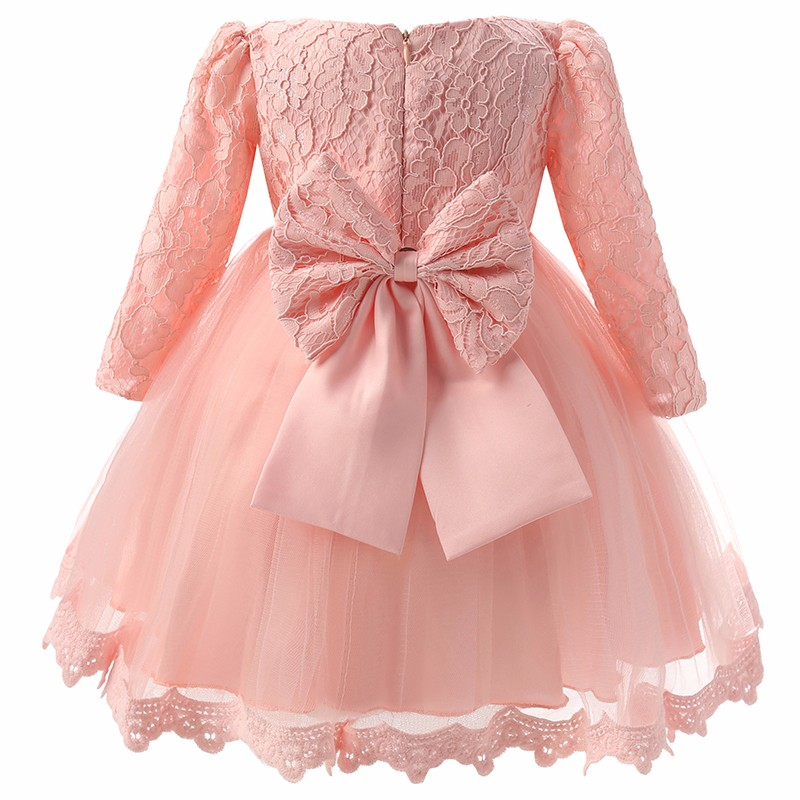 HTB1cCnKNXXXXXbNXFXXq6xXFXXXO - Autumn Baby Girl Dress Long Sleeve Pink White Infant Dress For Baptism Christening First Birthday Party Toddler Girls Clothes