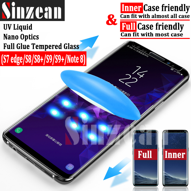 Sinzean 3pcs UV liquid nano optics full glue UV tempered glass for samsung S9 plus/s9/s8 plus/s7 edge/note 8 case friendly glass