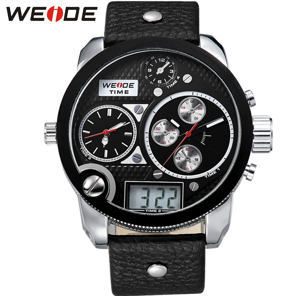 WEIDE Big Dial Black Mens Digital Repeater Back Light Leather Wristwatch Buckle Date Stopwatch Quartz Analog 3 Time Zone Watch weide men black running outdoor date day repeater back light stopwatch sports quartz watch alarm clock strap military wristwatch