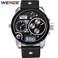 WEIDE Big Dial Black Mens Leather Wristwatch 3ATM Waterproof Quartz Analog Digital 3 Time Zone Display Hot Fashionable Watches