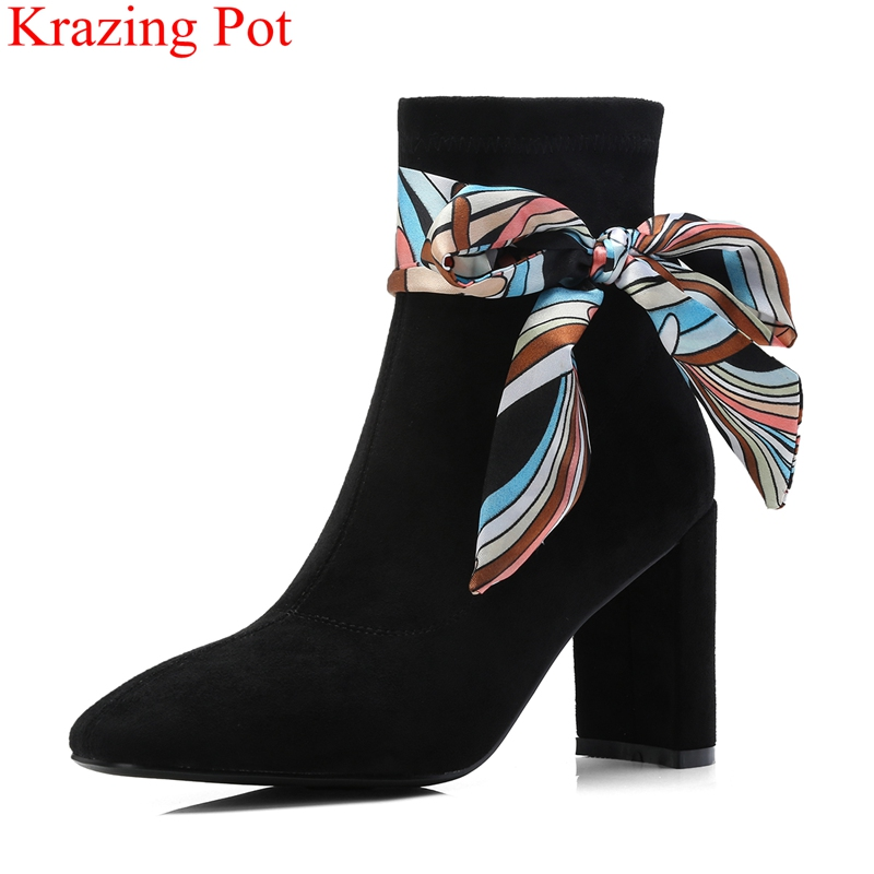 2018 fashion kid suede round toe high heels scarf butterfly-knot women ankle boots slip on office lady keep warm winter shoe L402018 fashion kid suede round toe high heels scarf butterfly-knot women ankle boots slip on office lady keep warm winter shoe L40