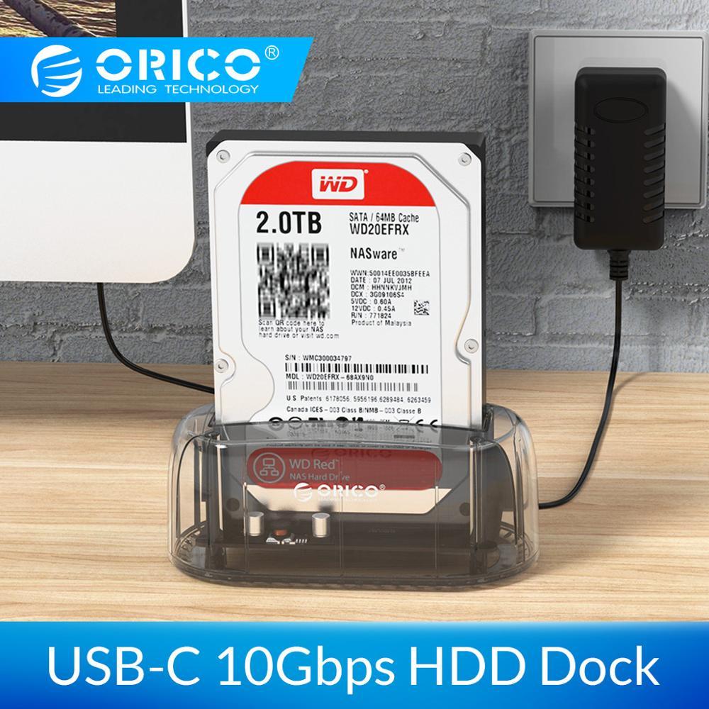 ORICO USB3.1 Gen2 10gbps Transparent Station d'accueil pour DISQUE DUR Type-c 2.5 3.5 Boîtier de Disque dur Externe HDD Cas support pour disque dur