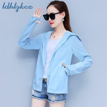 Women Coat Casual Sunscreen Hooded Jacket Girls 2019 New Summer Fashion Riding Ultra-thin Breathable UV Sunscreen Jacket CX41(China)