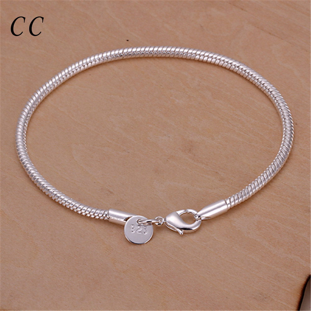 Simple Chain & Link Bracelets For Women Silver Plated Jewelry Accessories 3  Mm Snake Chain Wholesale