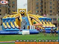 Giant inflatable ground water park inflatable cartoon water play equipment with huge slide