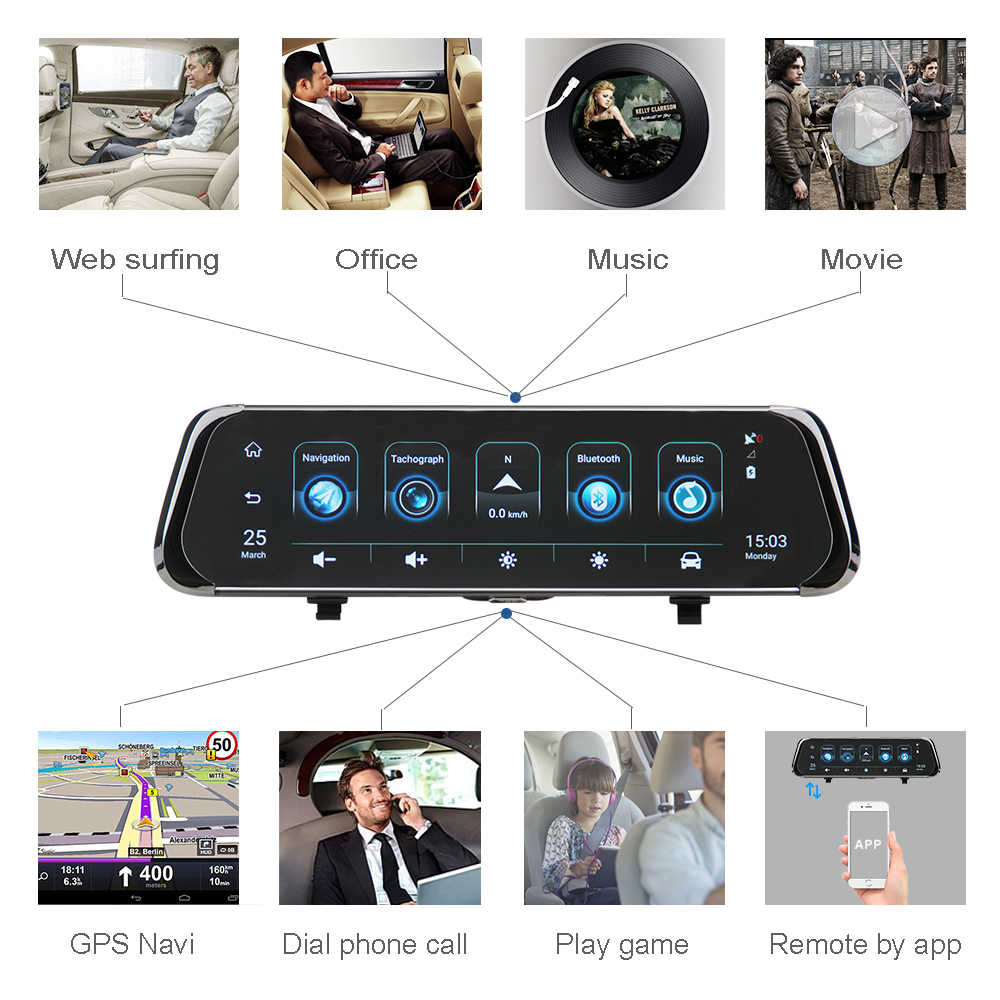 "ANSTAR Car Dvr 4G Android Mirror Dash Camera 10"" Rearview Mirror Camera GPS ADAS Mirror Recorder 1080P Streaming Media Dash Cam"