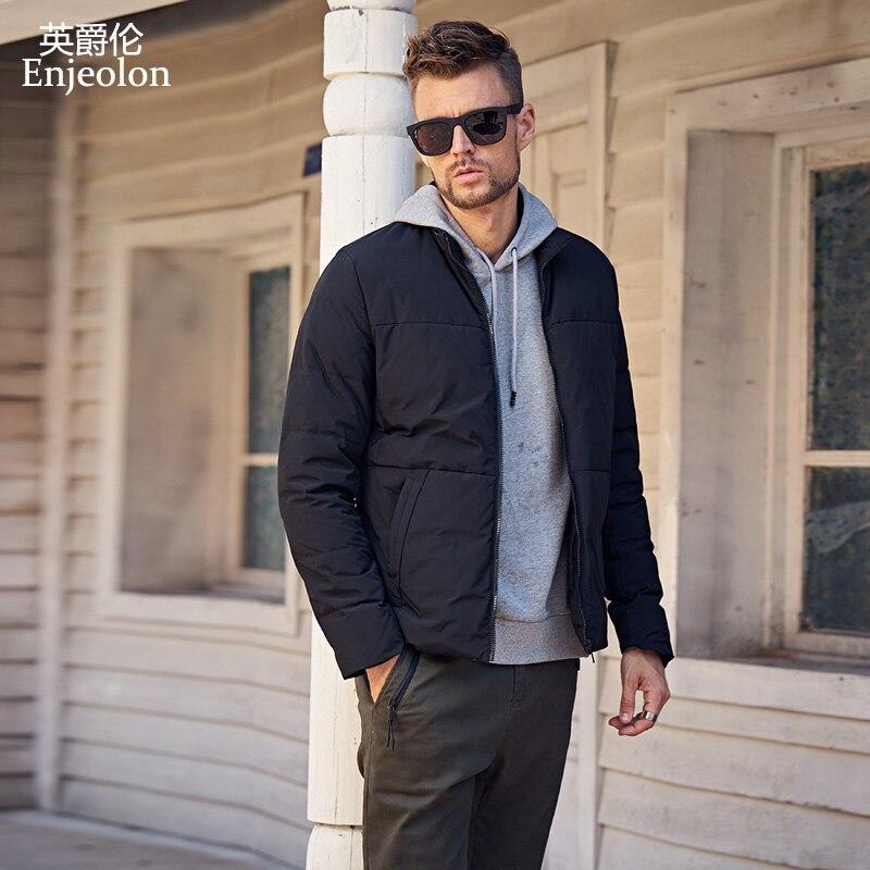 Enjeolon marka zagęścić zimowe ocieplane kurtki mężczyźni lekka odzież Parka białe kaczki płaszcz puchowy jakości dół Parka Plus rozmiar 3XL MF0109 w Kurtki puchowe od Odzież męska na  Grupa 1