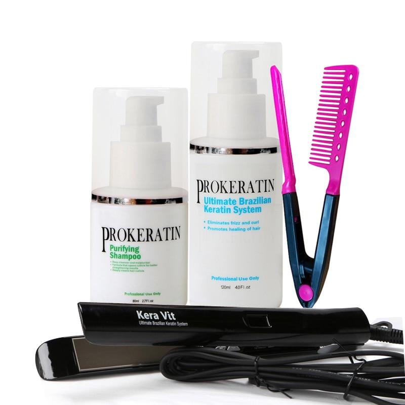 Cheapest DIY Set at Home Mini Hair Keratin Treatment Repair Straighten Hair+Flat Iron+Comb Free Shipping 2 120ml brazilian keratin treatment straighten hair product and hair comb diy at home free shipping
