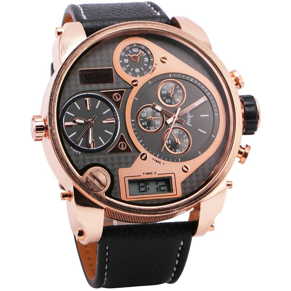 OULM Men's 3 Time Display Digital Quartz Watch Leather Strap Rose Golden Oversize Case Military Sports Watches for Men +GIFT BOX top brand luxury oulm 2 time zone men watches military sports quartz watch 2017 men rose golden case relogio masculino box