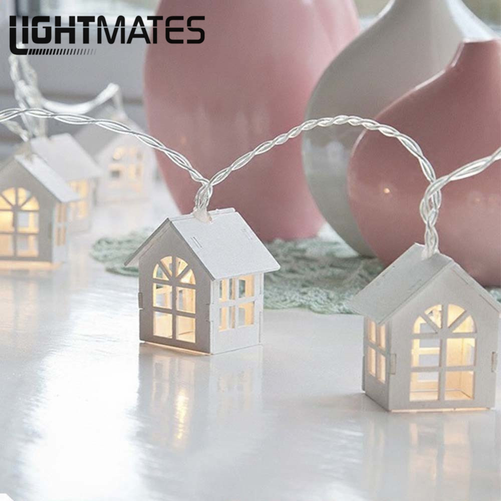 1.5M / 10 LED House Style Batteri Lampion Creative Festival Light - Festlig belysning