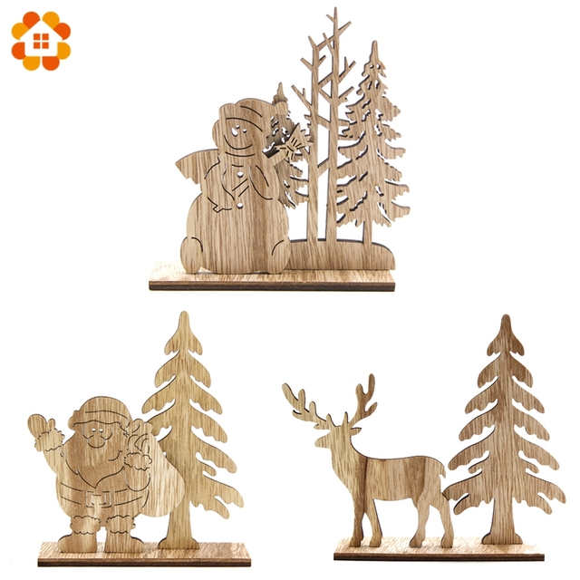 New!1Set Natural Christmas Wooden Ornaments DIY Wood Crafts For Home Table Decorations Christmas Party Supplies Kids Gift