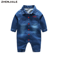 2018 Boys Rompers For Baby Button Clothes Sleeve Suits Denim Jumpsuits Cotton Toddler Casual Long Romper