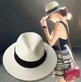 Nueva mujer sombreros de las mujeres sombrero de verano clásico negro faja de Panamá sunhats Jazz Sombrero sombreros de playa para mujeres chapeau de paille femme