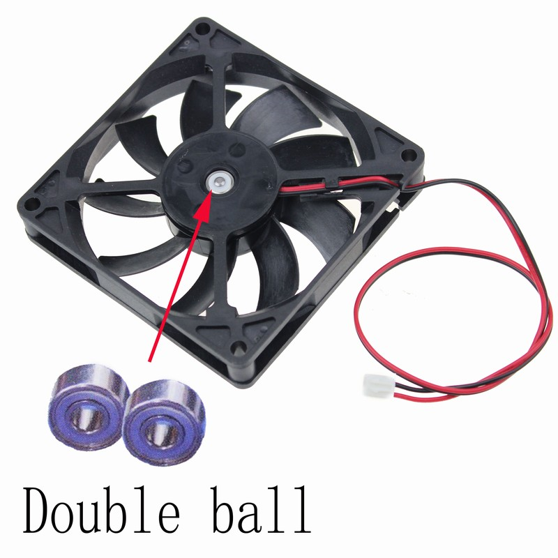Gdstime 2 pcs DC Fan 12V 80mm x 15mm Dual Ball Bearing 8015 PC Computer Case Cooling Fan 80x80x15mm 2 Pin 8015 original avc dv07020b12u 7020 70mm 7cm dc 12v 0 7a dual ball bearing fan server inverter cooling fan