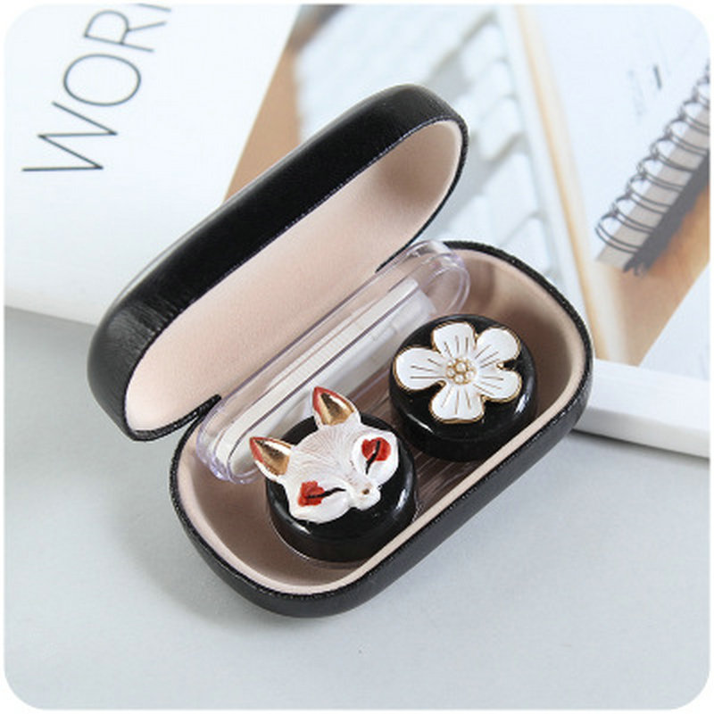 2017 New Cartoon Animals Contact Lens Case Cute Contact Lens Portable Mate Box Double Box Packing
