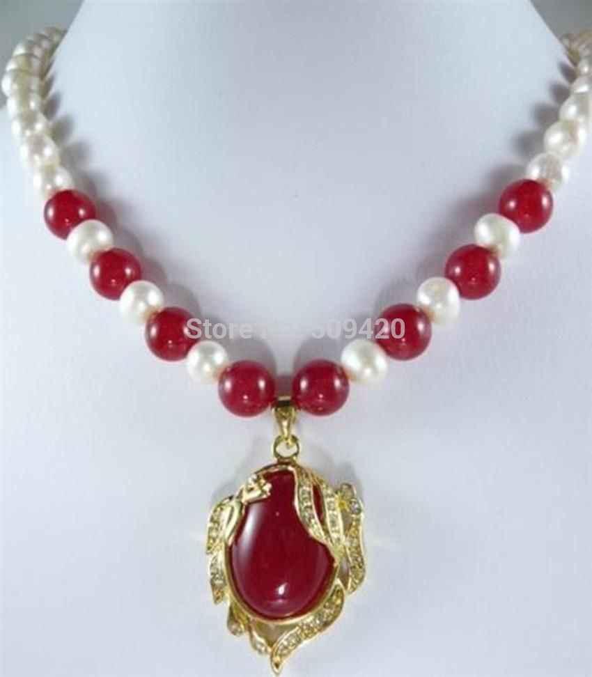 DYY ~~ Frete>> Elegante 7-8mm Branco Akoya Pérola Cultivada Colar de jade vermelho