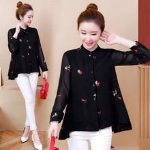 YICIYA black plus size blouse 4xl 5xl 6XL women chiffon shirt long sleeve winter 2019 spring button top loose female clothes