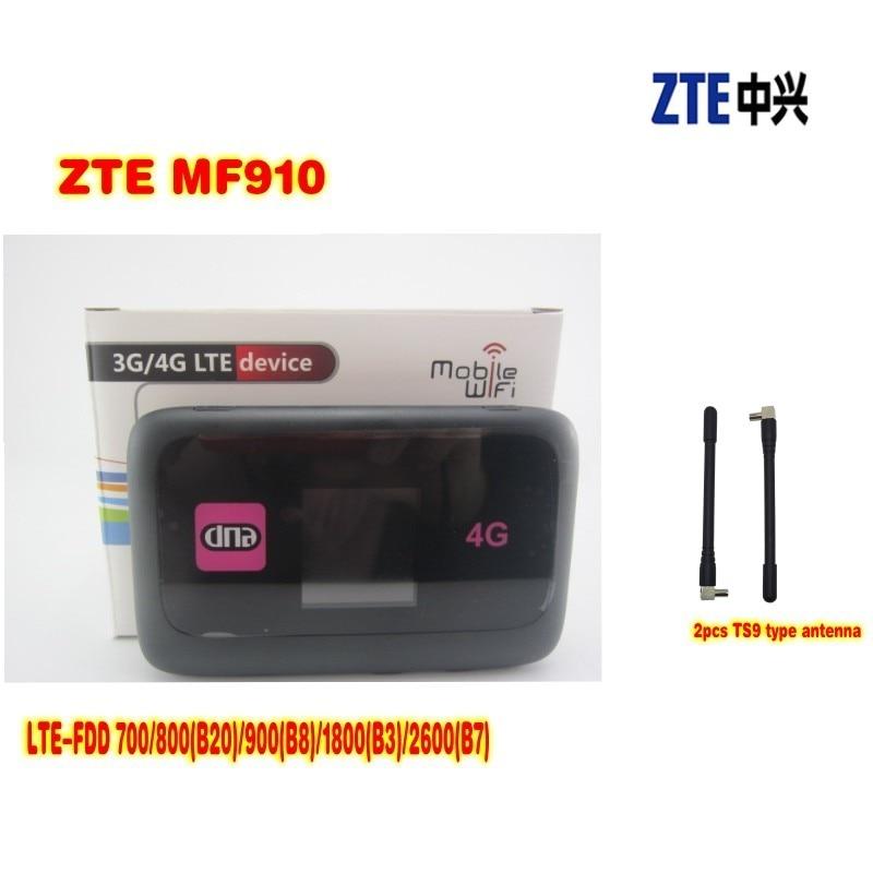 UNLOCKED ZTE MF910 150MBPS 4G LTE HOTSPOT MOBILE BROADBAND ROUTER +2pcs 4g antenna цена