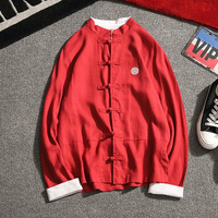 Chinese Style Spring Cotton Linen Shirts Men Long Sleeved Plate Buckle Tang Suit Plus Size 5XL