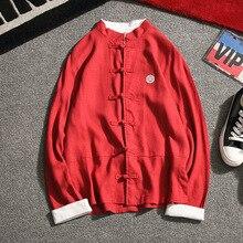 Chinesischen Stil Frühjahr Baumwolle Leinen Shirts Herren langarm Platte Schnalle Tang-anzug Plus Größe 5XL Stickerei Retro Shirt männlich
