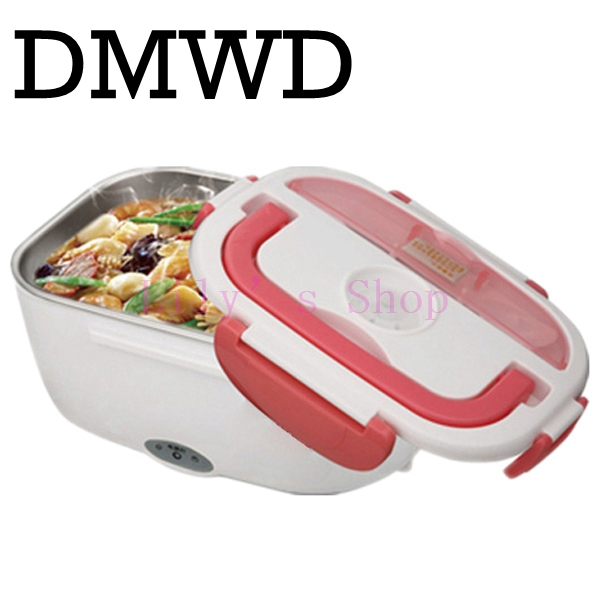 DMWD Mini Lunch box stainless steel liner electric heating insulation lunchboxes hot Food Warmer Container Meal Heater office EU