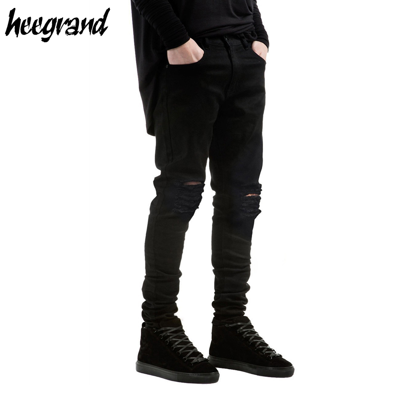 HEE GRAND Men's Jeans 2017 New Arrival Men Destroyed Hole Casual Pants Male Damage Slim Street-wear Denim Jean MKN890 men s cowboy jeans fashion blue jeans pant men plus sizes regular slim fit denim jean pants male high quality brand jeans