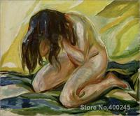 Symbolism Edvard Munch Female nude kneeling oil Painting High quality Hand painted
