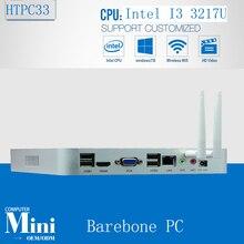 Безвентиляторный Мини-ПК Barebone Windows 7/8/10 Core i3 3217U Двойного Nic промышленного ПК Прочный компьютерная Поддержка WI-FI/3 Г Модуль