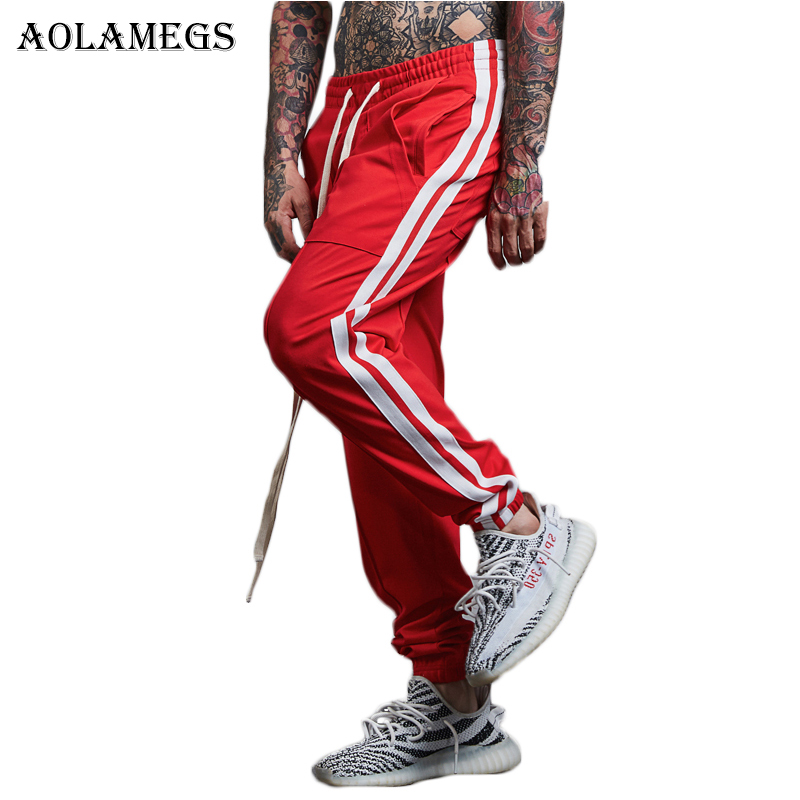 Aolamegs Harem Pants Side Striped Hit color Men Pants Elastic Waist Track Pants Trousers Mens Fashion 2017 Joggers Sweatpants pocket side elastic waist pants