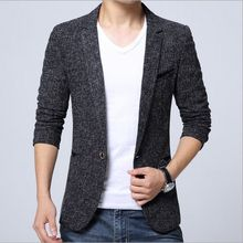 Korean Style Autumn Spring Clothing Mens Slim Fit Tweed Jacket Blazer For Men Casual Business Black Gray Suit Blazers Male Coats(China)