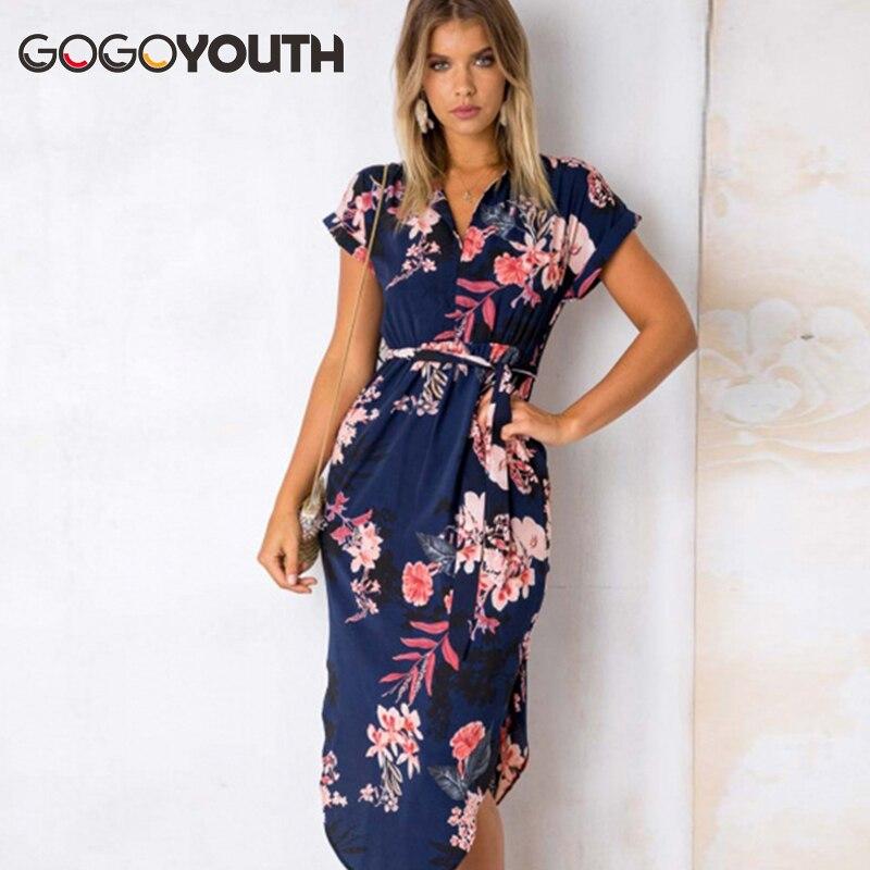 Gogoyouth Long Bohemian Women Summer Dress 2018 Vintage Plus Size Tunic Beach Dress And Sundress Black Party Dress Robe Femme