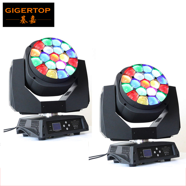 High Quanlity Free Shipping 2pcs/lot 19*15W RGBW LED Beam Moving Head Light LED Moving Head Light For Stage Lighting Effect