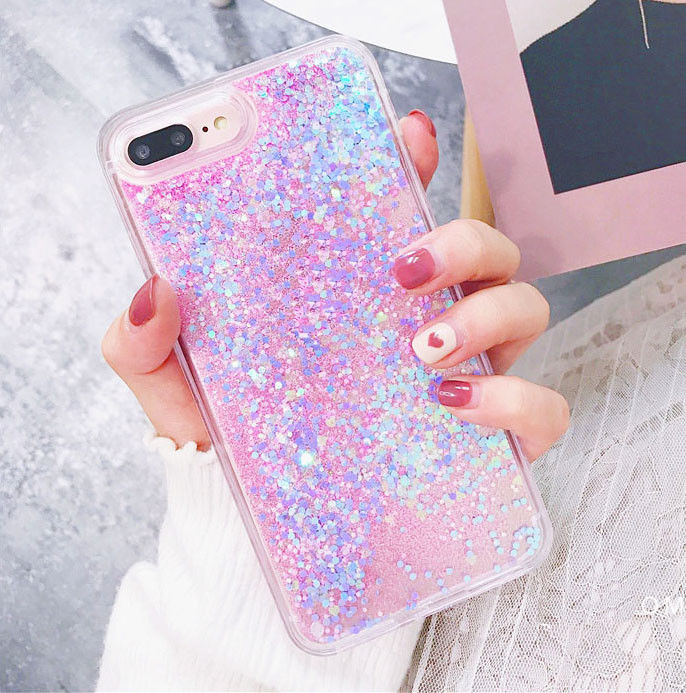 Bling Glitter Liquid Gel Soft Phone Case Cover For Apple iPhone 5 6 6s 7 8 Plus in Fitted Cases from Cellphones Telecommunications