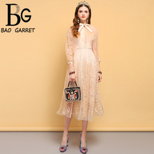 Baogarret New Summer Fashion Designer Dress Women's Bow Tie Floral Embroidery Mesh Overlay Elegant Vintage Party Dresses girls embroidered mesh overlay bow tie back ball gown