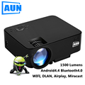AUN Projector 1500 Lumens Portable Mini LED LCD TV Projector android 4.4 Wifi Smart HD 1080P Home Theater Beamer Proyector