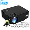 Aun proyector 1500 lúmenes portátil mini led lcd tv proyector android 4.4 wifi smart hd 1080 p de cine en casa proyector proyector