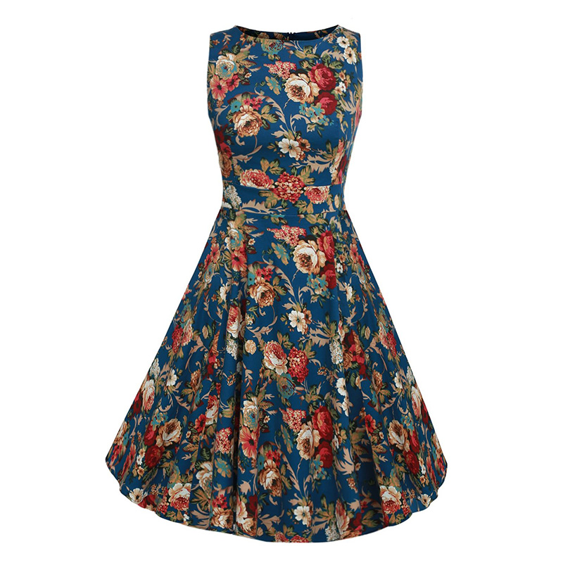 Kostlish Cotton Summer Dress Women 2017 Sleeveless Tunic 50s Vintage Dress Belt Elegant Print Rockabilly Party Dresses Sundress (30)