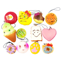 10pcs/set Useful Mobile Phone Straps Squishy Cute Soft Panda/Bread/Donut Phone Keychain for Phone Hanging Keys Bag Decor