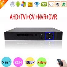 Blu-ray Metal Exterior DVR 1080N 8 Channel 8CH Hi3520D Chip Hybrid Coaxial 5 in 1 TVI CVI IP NVR AHD DVR Free Shipping