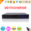 Blu-ray de Metal Exterior 1080N 8 Canal 8CH Hi3520d DVR Híbrido Coaxial 5 en 1 IP NVR CVI TVI AHD DVR DEL Envío gratis