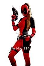 Freeshipping Señora Deadpool Spandex Body con Agujero Cola de caballo Cosplay Disfraces de Halloween para Las Mujeres
