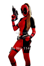 Freeshipping Lady Deadpool Spandex Bodysuit with Ponytail Hole Cosplay Halloween Costumes for Women