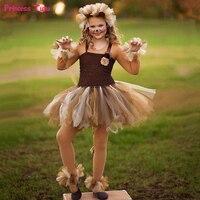 Brown Flower Girls Tutu Dress Children Cosplay Animal Lion Costume Dress Up Fancy Girl Kids Halloween